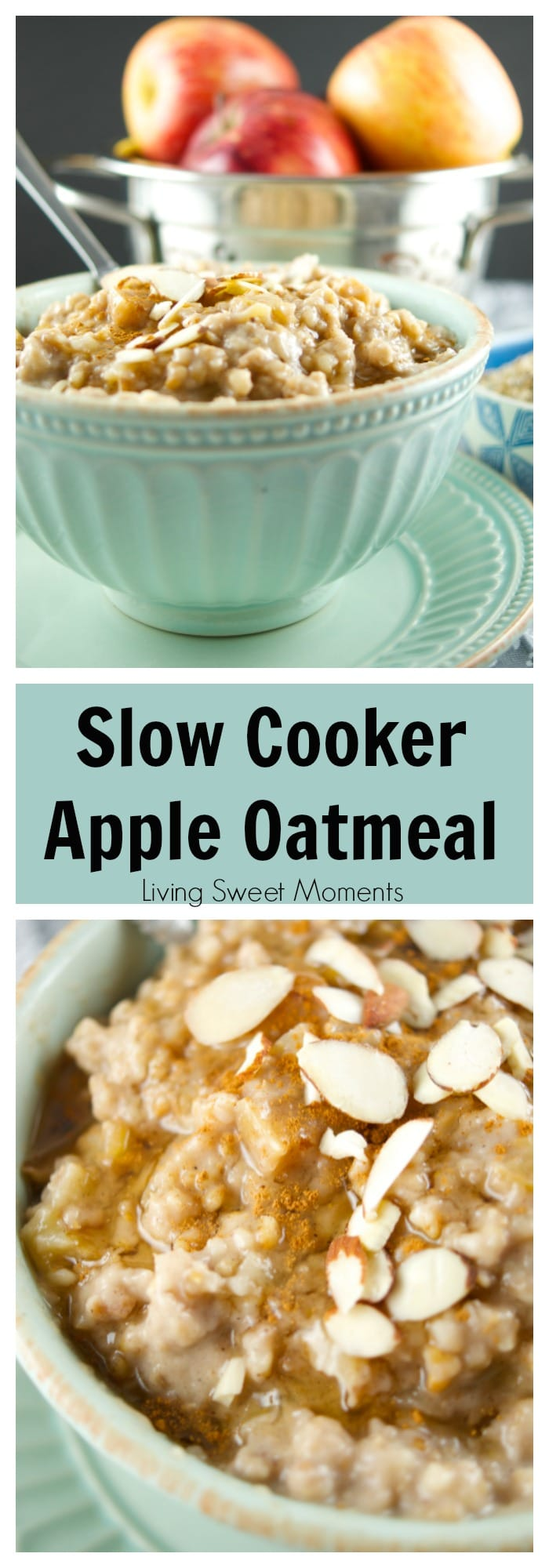 This delicious Slow Cooker Apple Oatmeal cooks overnight. It's vegan, healthy and full of flavor. Wake up to a hot bowl of apple pie oatmeal full of spice