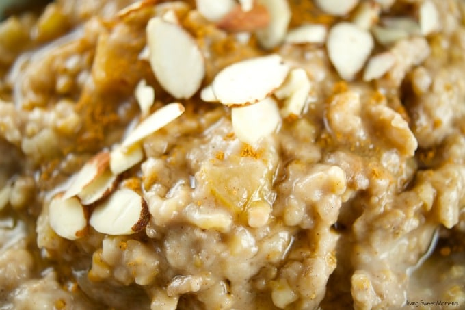 This delicious Slow Cooker Apple Oatmeal cooks overnight. It's vegan, healthy and full of flavor. Wake up to a hot bowl of apple pie oatmeal full of spice.