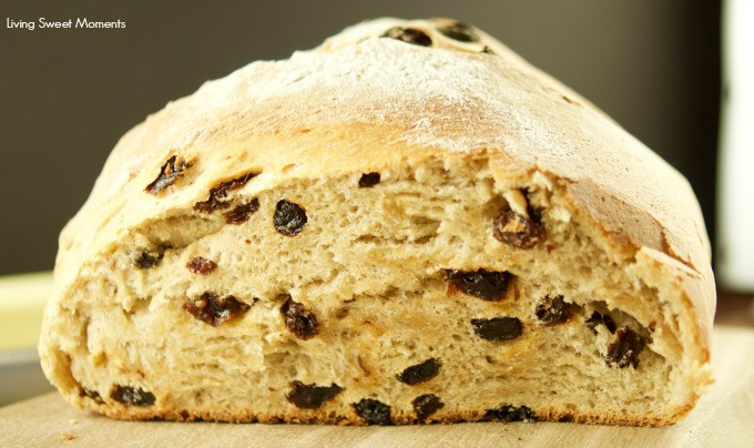 This sweet crispy Cinnamon Raisin Artisan Bread is easy to make and delicious! Enjoy a toasted slice with butter and jam for breakfast. My fave bread recipe