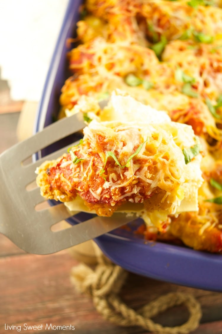 This delicious Crispy Chicken Lasagna is made in 30 minutes or less and is the perfect quick weeknight dinner idea that is both kid and adult friendly.