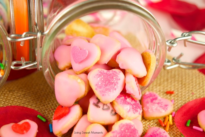These delicious mini valentine's cookies are made from scratch and topped with a sweet glaze. The perfect DIY valentine's gift idea for kids and adults.