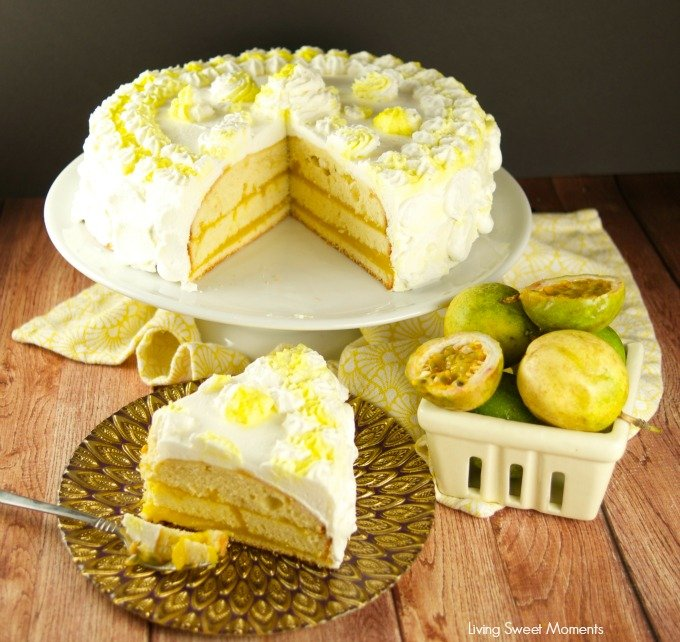 Delicious passion fruit cake filled with tangy passion fruit curd and covered with sweet Chantilly cream. The perfect exotic dessert for parties.