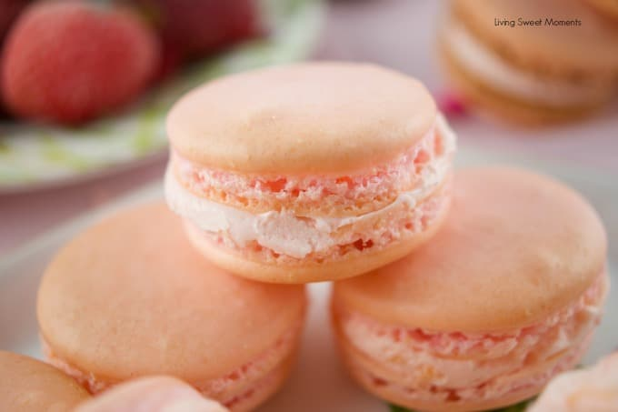 Delicious strawberry macarons that are easy to make and kid friendly. The perfect crunchy cookie filled with strawberry buttercream. My fave french dessert.
