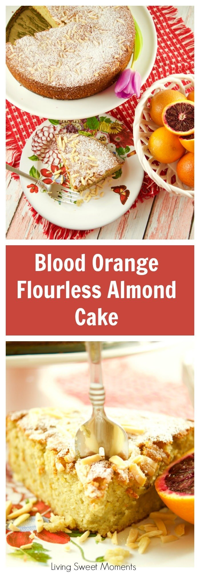 This moist Blood Orange Almond Flourless Cake is delicious and easy to make. The perfect Spring dessert to enjoy with tea and coffee. It's gluten free too