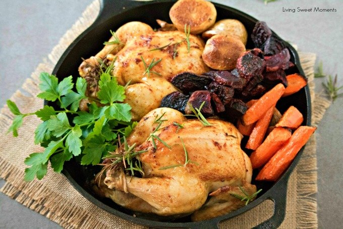 Delicious and juicy oven-roasted Cornish hens recipe with Roasted Veggies. The perfect fancy dinner idea for winter and fall