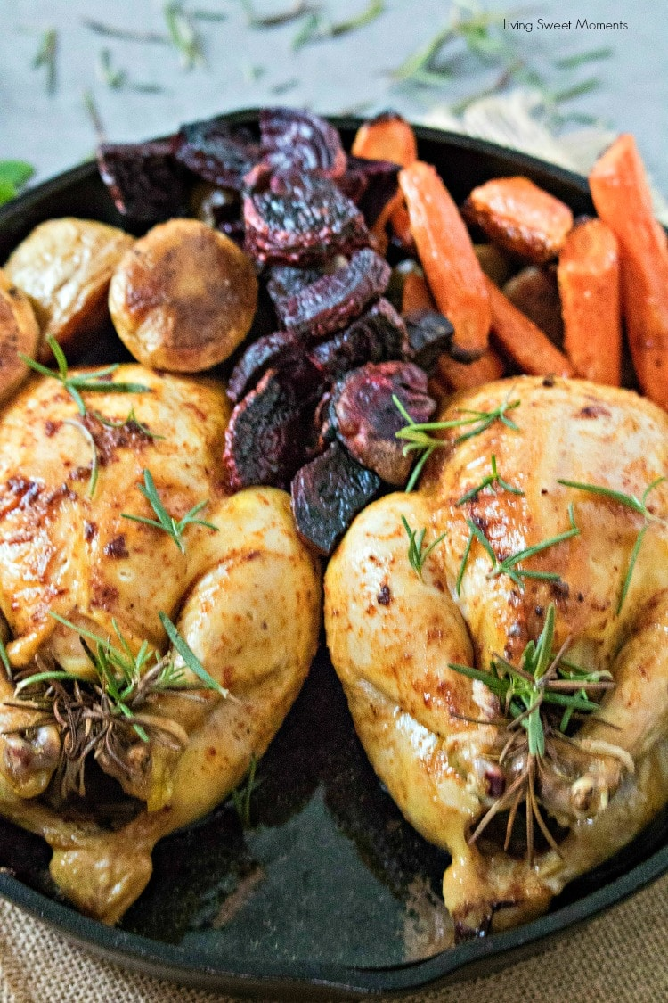 Delicious and juicy oven-roasted Cornish hens recipe with Roasted Veggies. A weeknight dinner idea or for entertaining
