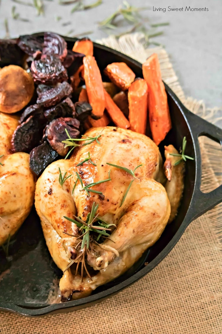 Delicious and juicy oven-roasted Cornish hens recipe with Roasted Veggies. Serve it during wintertime! Perfect for entertaining