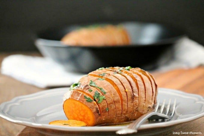These delicious and crispy Hasselback Sweet Potatoes are the perfect easy side dish to any dinner. Just 3 ingredients needed. Vegetarian too. Yummy
