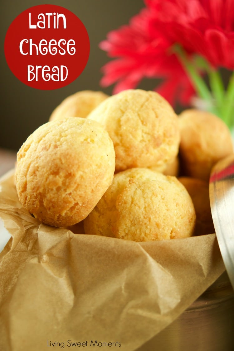 This yummy Latin Cheese Bread (almojabanas) is gluten free and delicious. Perfect to serve as rolls during dinner and as appetizers for a party or brunch. Originally from Colombia.