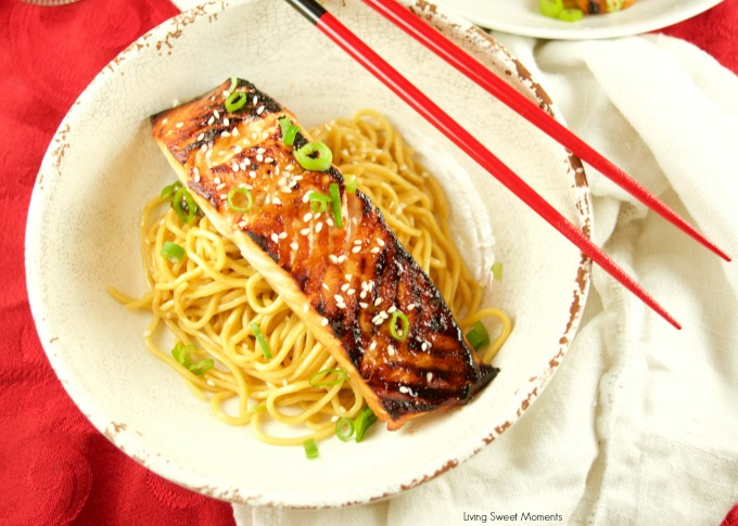 This yummy miso salmon recipe is served over sesame noodles. The perfect quick weeknight dinner idea that is ready in 20 minutes or less. Elegant too!