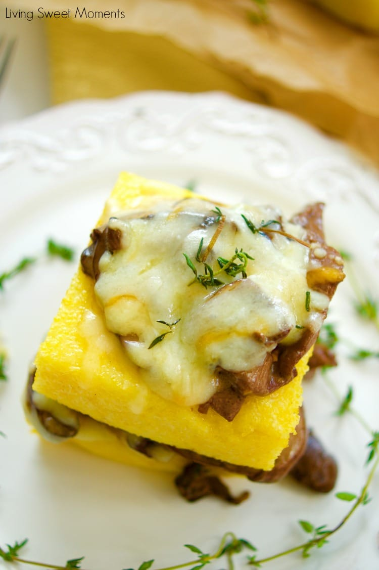 Delicious cheesy mushroom ragu served over polenta squares. A quick and easy vegetarian entree or appetizer idea. Sophisticated taste without the fuss!