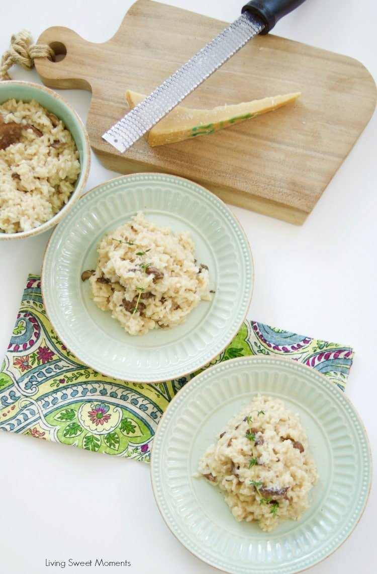 This Easy Mushroom Risotto is made in the pressure cooker so it's ready in no time! Only requires a few ingredients to make this creamy and tasty vegetarian dish