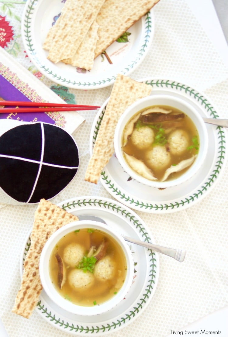 This Asian style Matzo Ball Soup recipe is made with a flavorful ginger scallion broth and shiitake mushrooms. Perfect for your modern Passover Seder menu.
