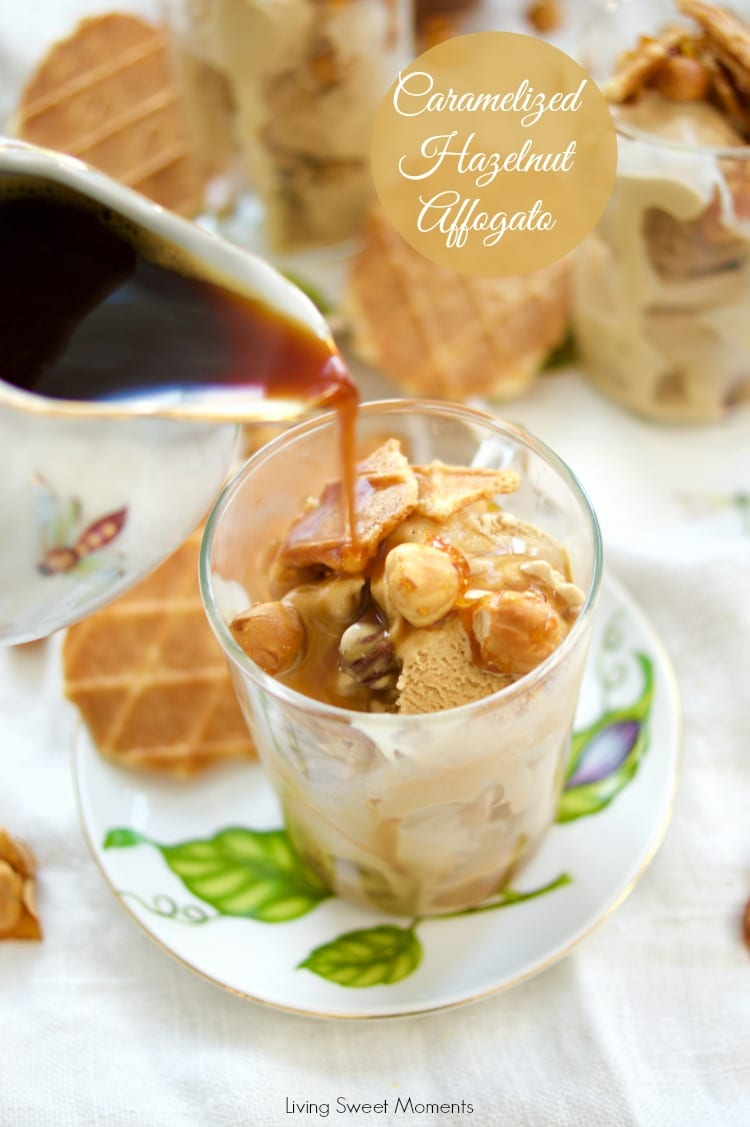 This delicious Hazelnut Affogato recipe is made with caramelized hazelnuts, hazelnut ice cream, and instant coffee for a delicious no bake dessert idea.