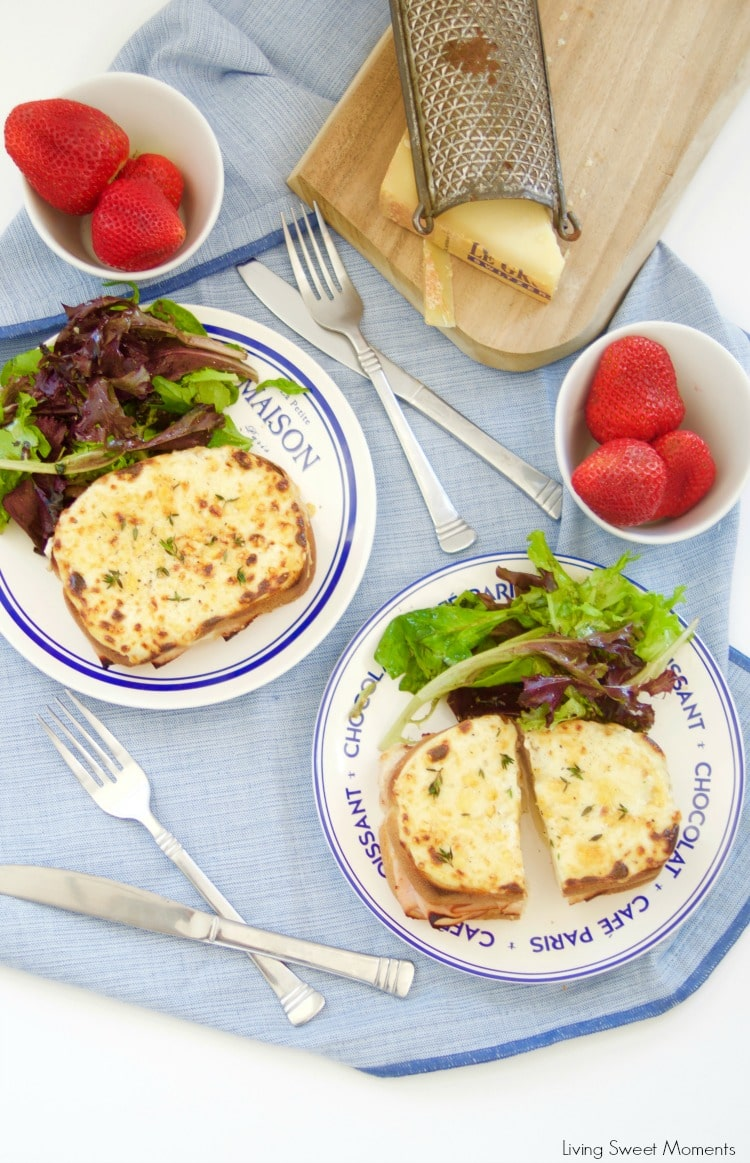 These Croque Monsieur Baked sandwiches are filled ham and cheese and topped with bechamel sauce and gruyere cheese. An easy recipe for dinner or brunch.