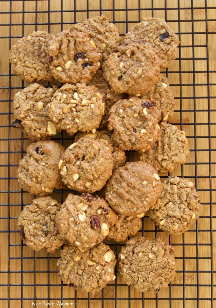 This Easy Peanut Butter Cookies recipe is made without flour or oil/butter but a healthier cookie recipe. It is chewy and delicious. Kid friendly too! Enjoy