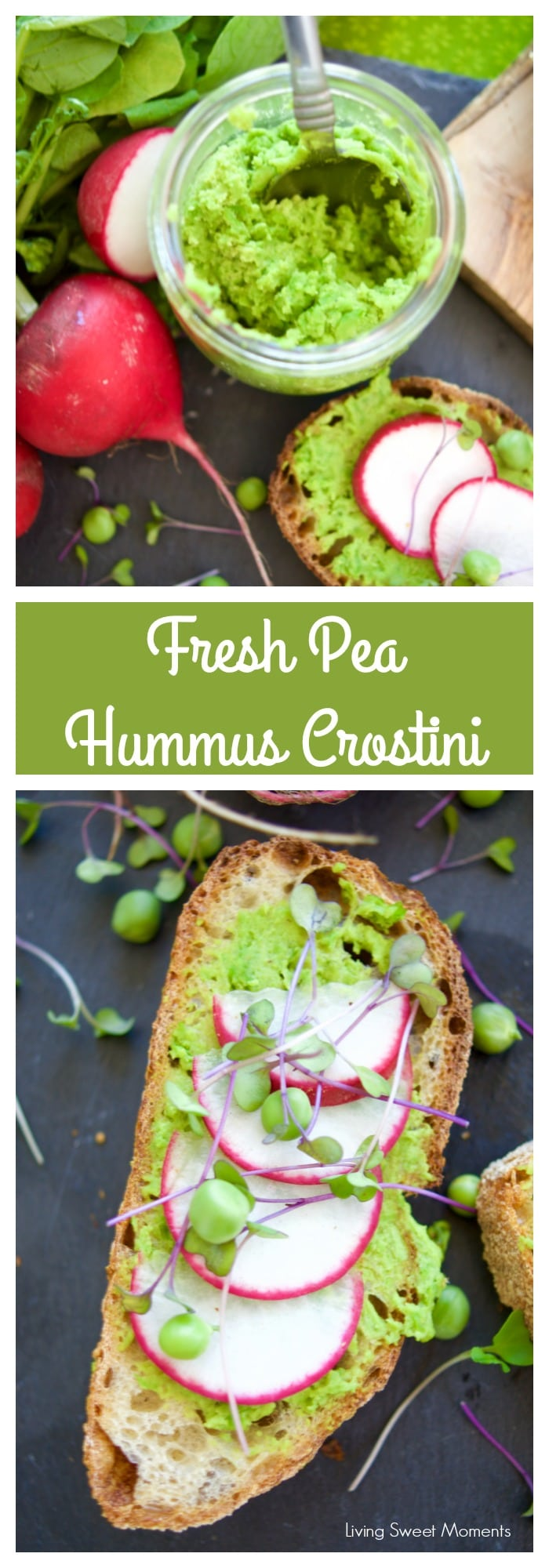 This delicious Pea Hummus Crostini recipe is easy and perfect for a Spring appetizer. Made with mint and tahini that gives a unique flavor. Vegan as well