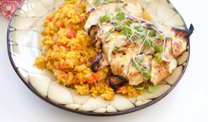 Spanish Sweet Potato Rice with Honey Lime Chicken (Passover, GF)