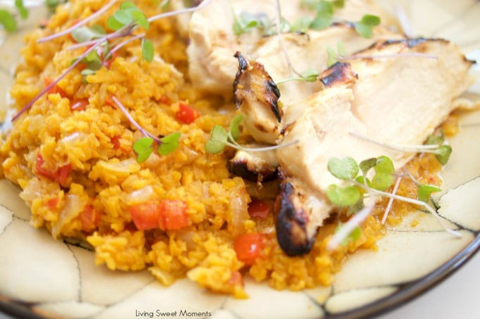 This delicious Spanish Sweet Potato Rice with Honey Lime Chicken recipe is easy to make and perfect for a quick weeknight chicken dinner idea. Tasty!