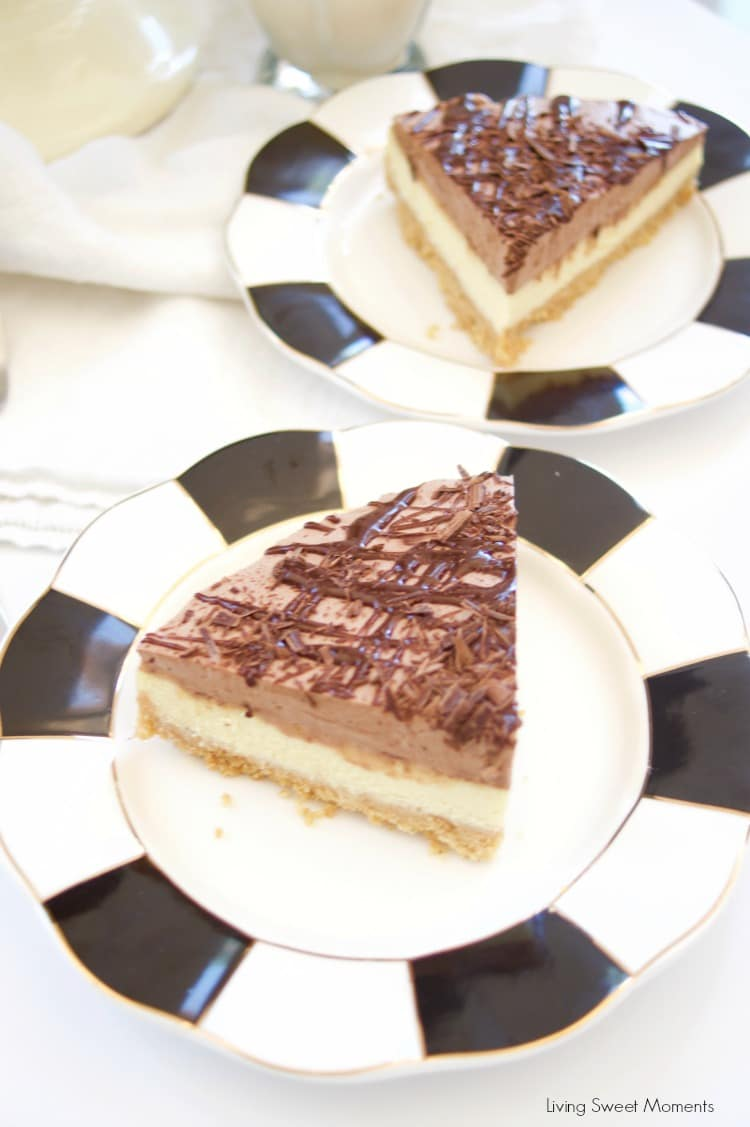 This Horchata Mousse Cheesecake recipe is easy to make, creamy and delicious. It has a Cookie crust, horchata cheesecake, horchata-choco mousse, & ganache.