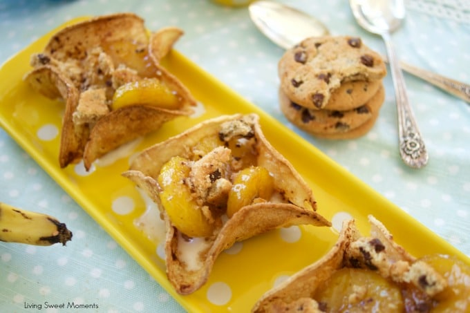 These delicious Ice Cream tacos are filled with warm plantains foster and topped with yummy Chips Ahoy! The perfect dessert or snack with a latin twist.