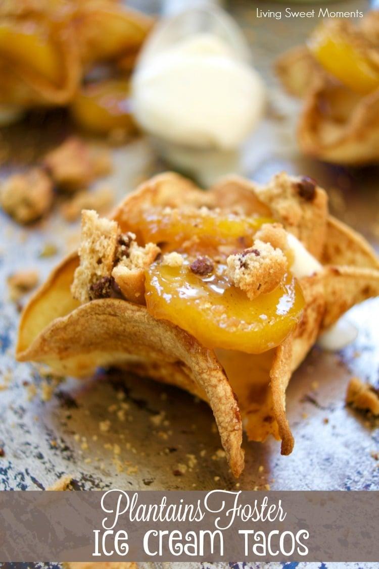 plantains foster ice cream tacos recipe cover