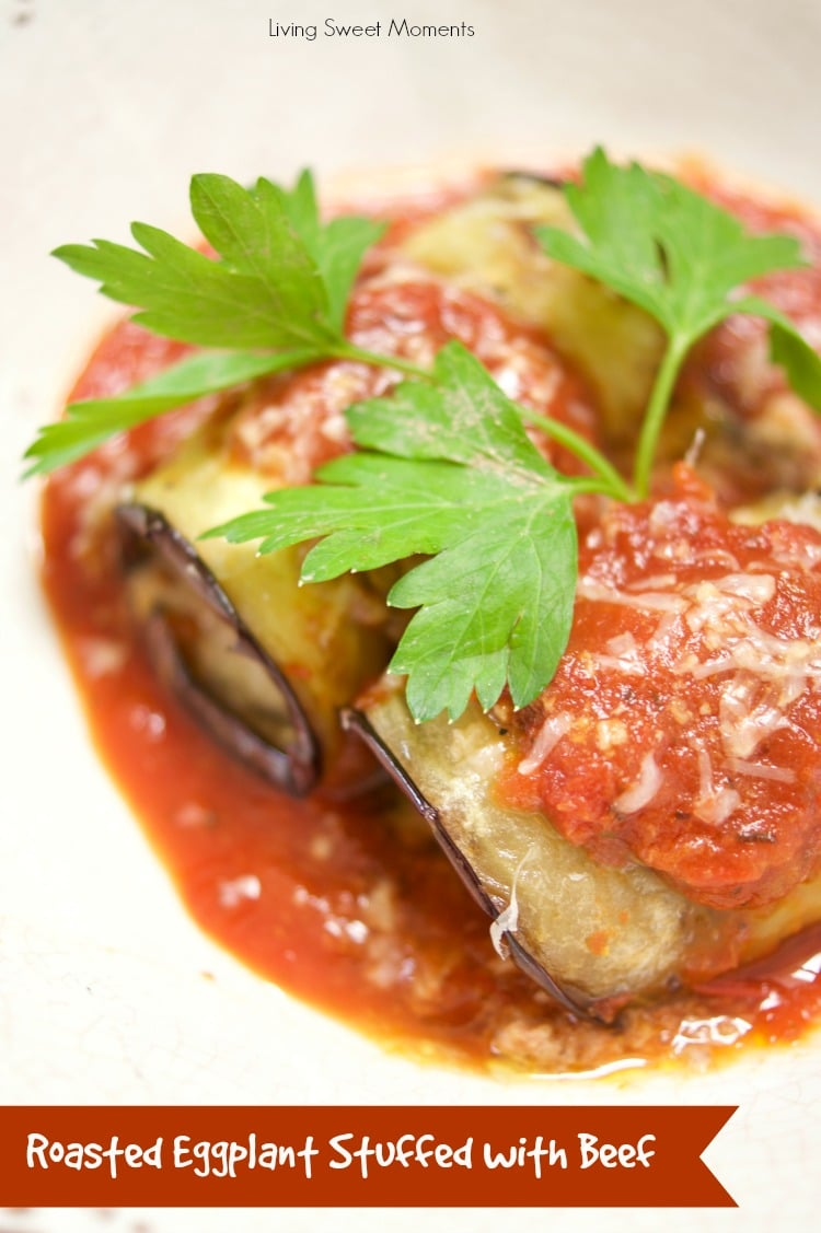 This delicious Roasted Eggplant Stuffed with Beef is served with a homemade tomato sauce for an easy and healthy dinner idea that your family will love. Yum