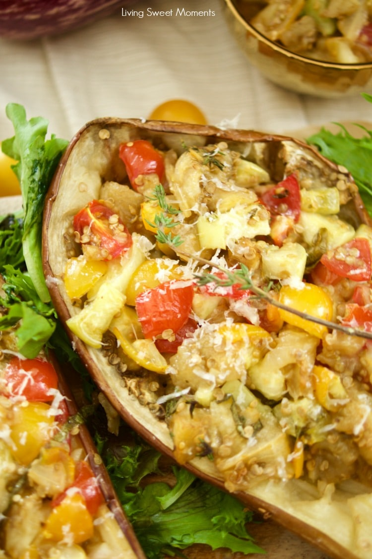 This delicious Tomato Stuffed Roasted Eggplant is super easy to make and the perfect vegetarian entree that is filling and tasty. Great for parties as well!