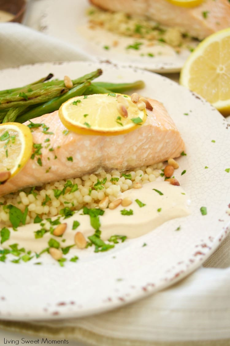 This delicious broiled salmon recipe is served with a homemade tahini sauce and green beans. The perfect quick weeknight meal that is both healthy & tasty
