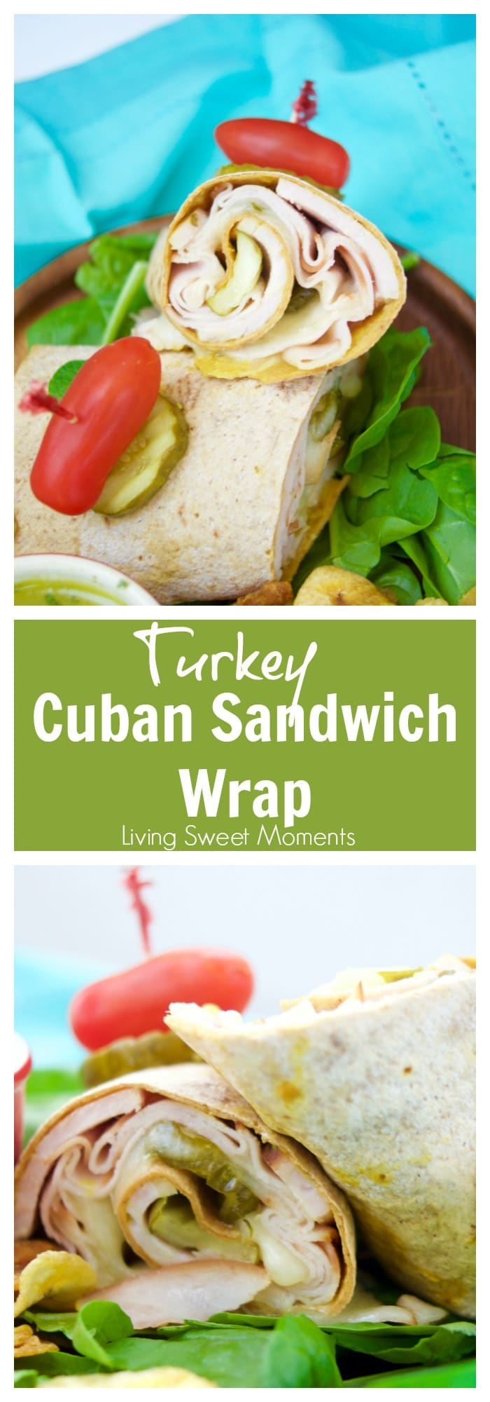 This delicious Cuban Sandwich Wrap made with turkey, is ready in 5 minutes or less and is the perfect quick weeknight dinner that is both exotic and tasty!