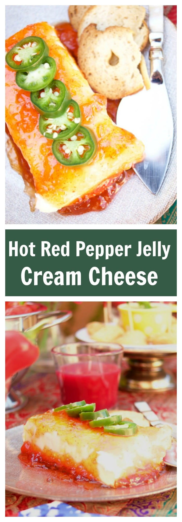 This Cream Cheese with Hot Red Pepper Jelly is easy to make and delicious. The perfect sweet and spicy appetizer to serve at any party of celebration.