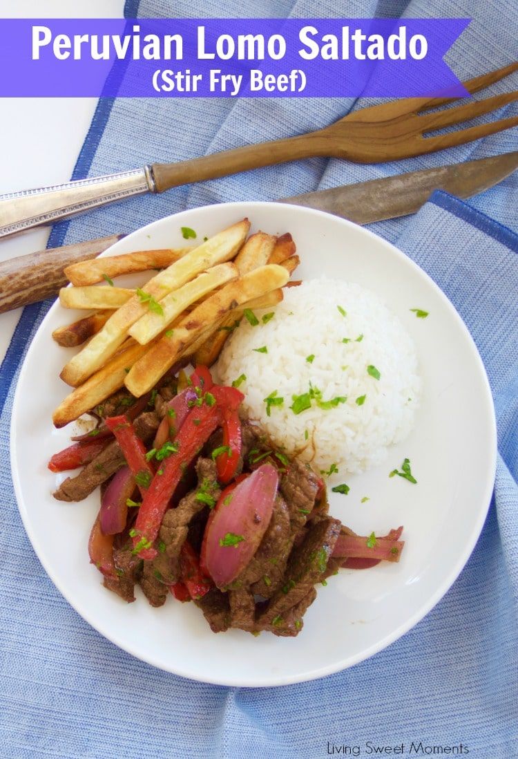 This delicious beef stir fry recipe (Peruvian Lomo Saltado) is made in 15 minutes or less and is healthy, tasty and perfect for a quick weeknight dinner.