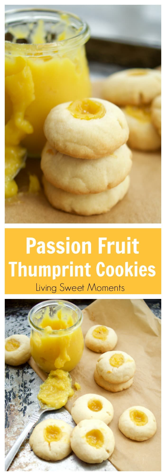 This delicious thumbprint cookie recipe is made with homemade passion fruit curd in a shortbread cookie dough. Perfect for dessert and tea. Yummy!