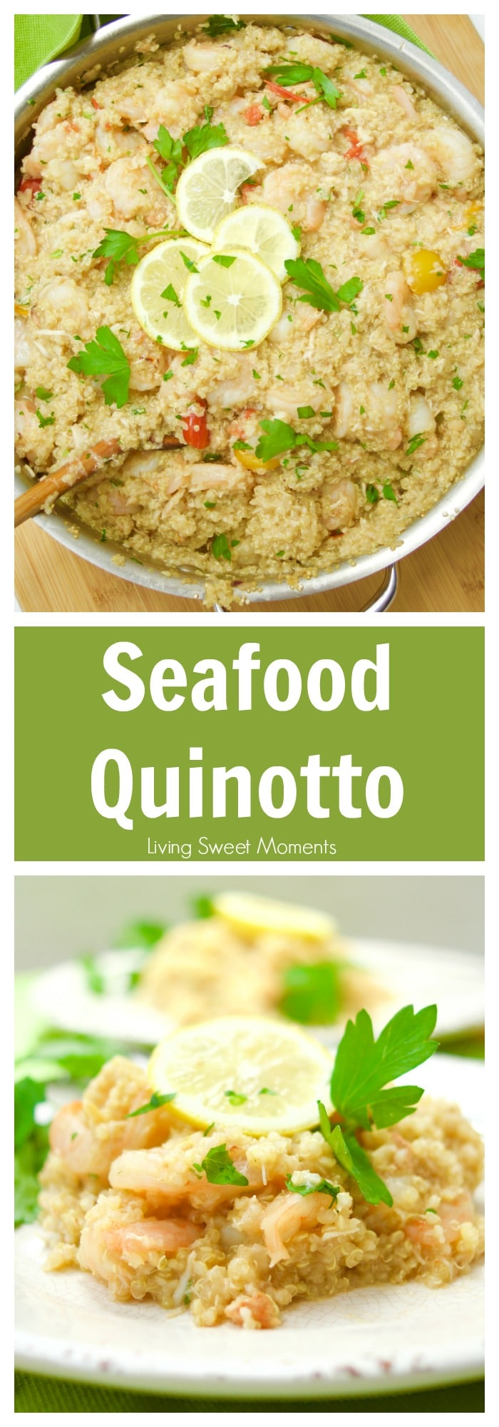 This delicious Peruvian Quinotto recipe is made with seafood, wine, and tomato. Perfect for summer entertaining and can be made in 30 minutes or less. Yum!