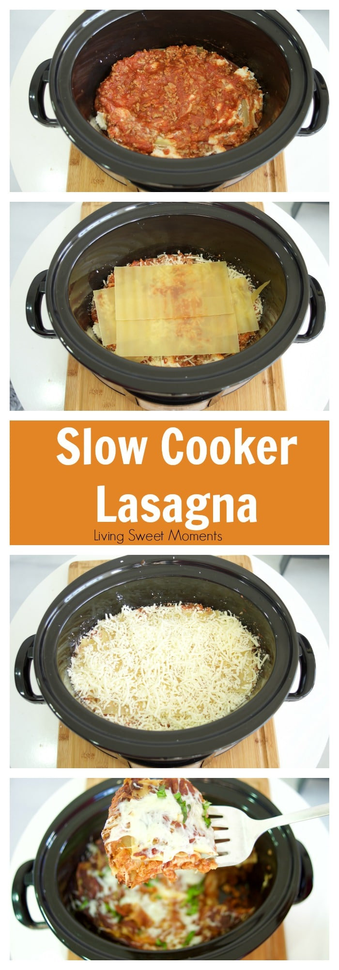 This easy to make and delicious Slow Cooker Lasagna Recipe is perfect for serving a crowd without much work. Take it to parties, cookouts and potlucks. Yum!