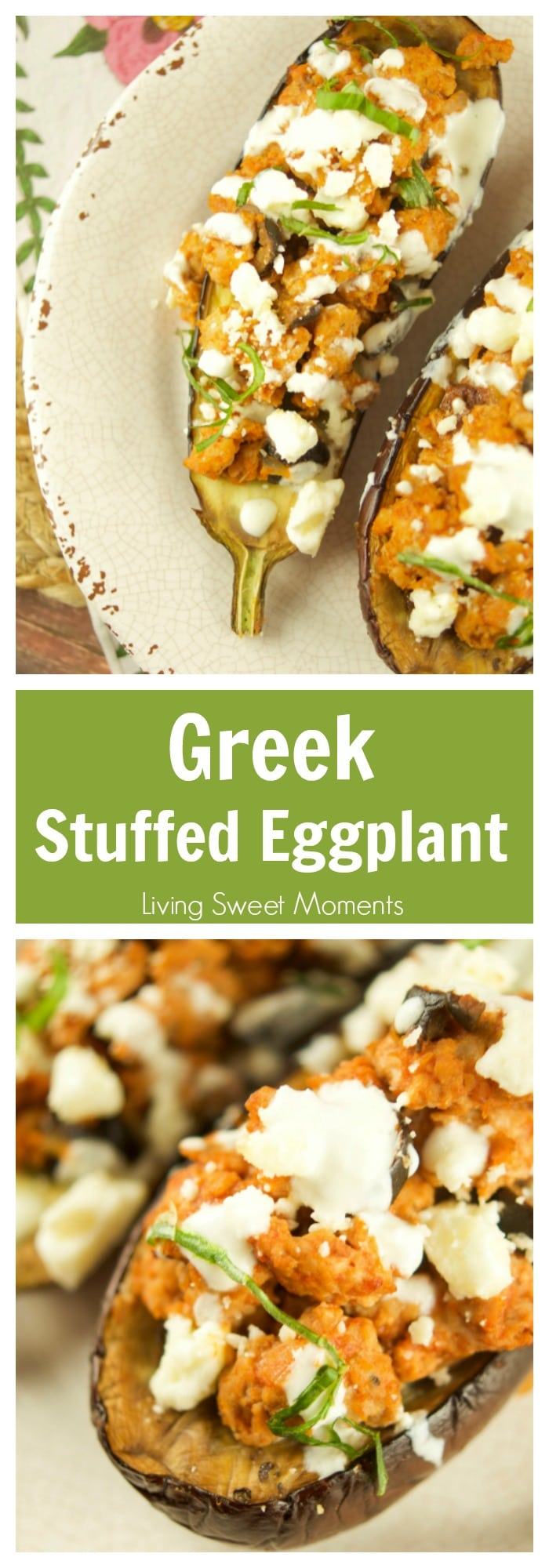 This tasty Greek Stuffed Eggplant is made with meat, kalamata olives and topped with feta cheese and tzatziki sauce. The perfect quick weeknight dinner idea. More stuffed eggplant recipes at livingsweetmoments.com