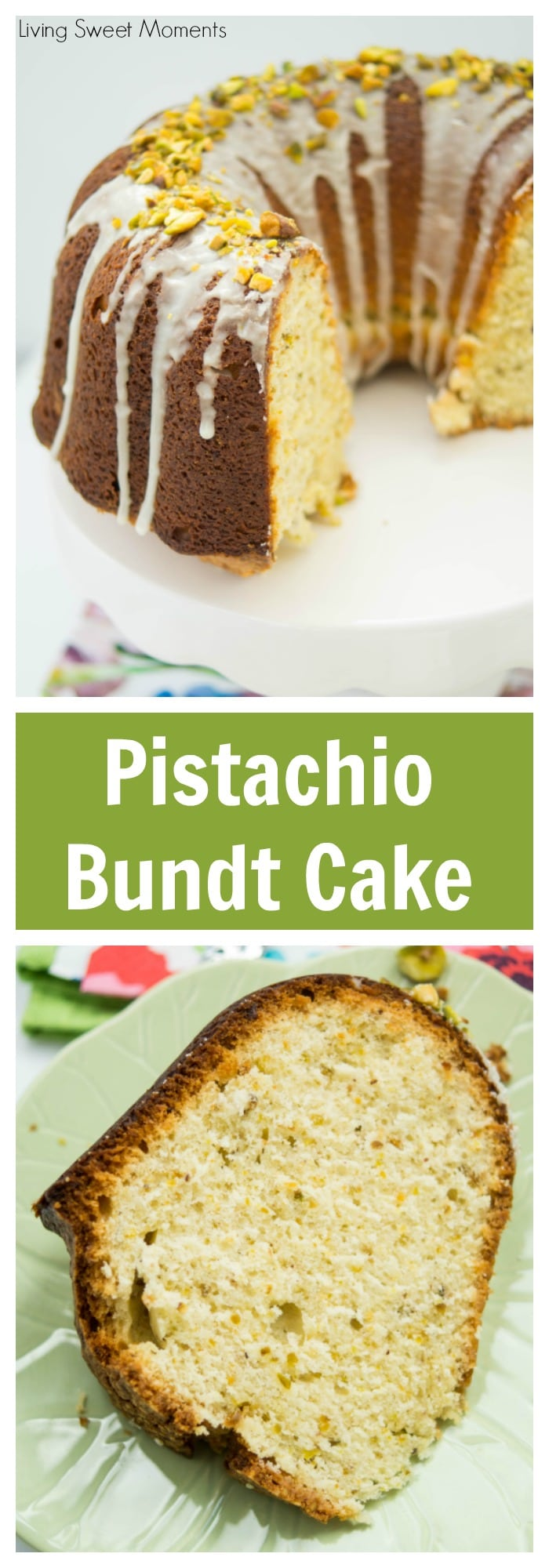 This delicious Pistachio Bundt Cake Recipe is made entirely from scratch and is topped with a sweet vanilla icing. Perfect for dessert, brunch, or anytime!