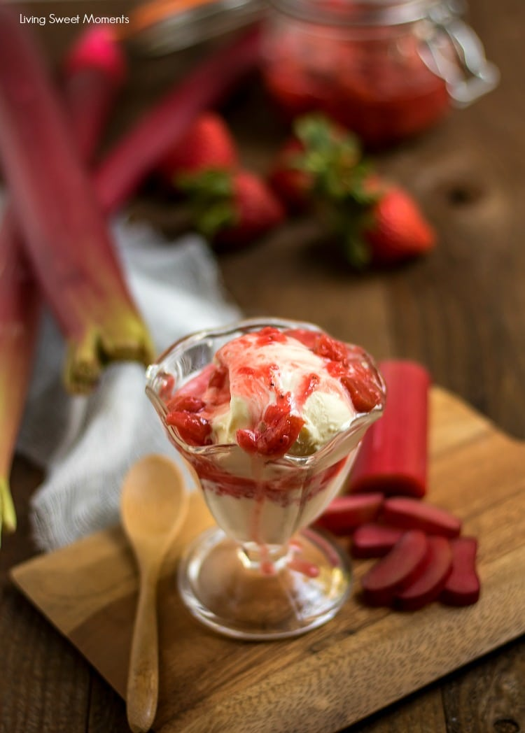 Only 4 ingredients needed to make this yummy Rhubarb Strawberry Compote. Perfect for spreading on toast in the morning or as a special topping for ice cream