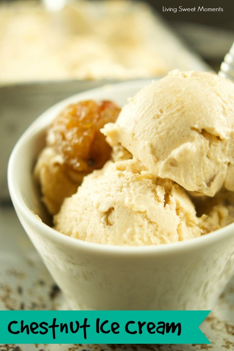 This delicious Chestnut Ice Cream Recipe is made with only 5 ingredients and chunks of real marron glace pieces inside. No ice cream machine required! Yummy