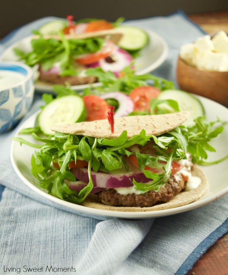 These delicious Greek Burgers With Tzatziki Sauce are made from scratch and they are ready in 20 minutes or less! The perfect quick weeknight dinner idea.
