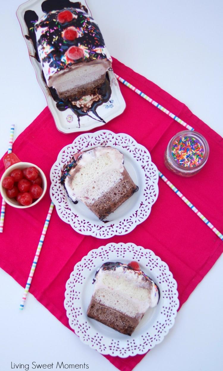 Neapolitan Ice Cream Cake - This delicious cake features 3 layers of cake, 3 layers of ice cream, and whipped cream on top. Perfect dessert for summer yum!