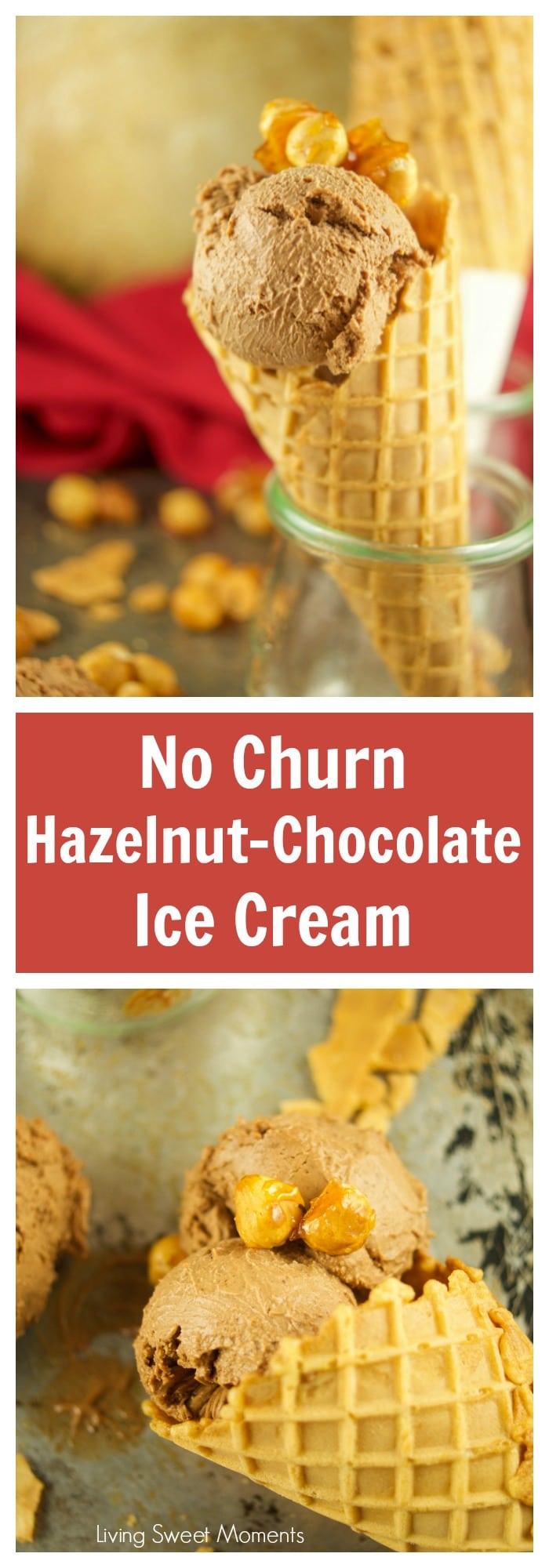 This easy Hazelnut Chocolate Ice Cream Recipe (gianduia) does not require an ice cream machine. It is made with hazelnut praline and bittersweet chocolate.