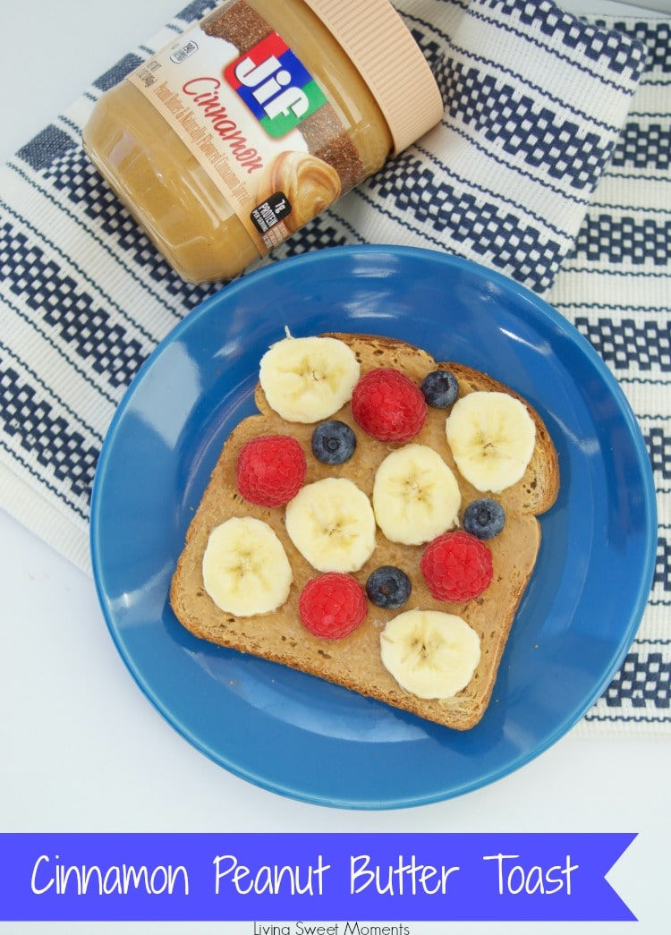 delicious cinnamon peanut butter toast with fruit