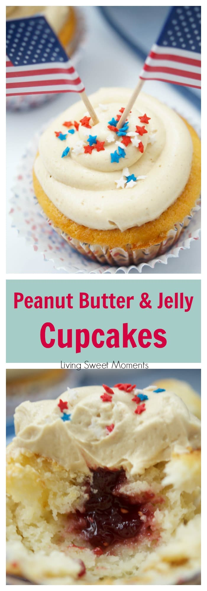 Peanut Butter And Jelly Cupcakes - delicious vanilla cupcakes filled with jelly and topped with peanut butter. The perfect dessert for any occasion.