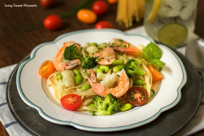 This delicious Summer Pasta is made with linguini, shrimp, and veggies and tossed in a butter garlic sauce. The perfect 15-minute dinner idea for the summer