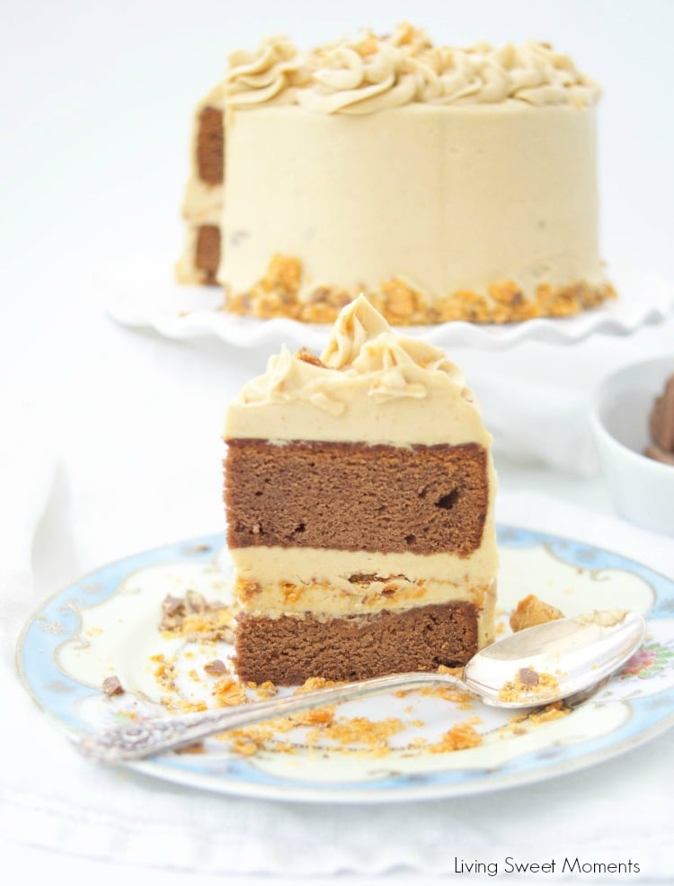 This delicious Butterfinger Cake Recipe dessert is made from scratch and features a moist chocolate cake with peanut butter frosting and butterfingers.