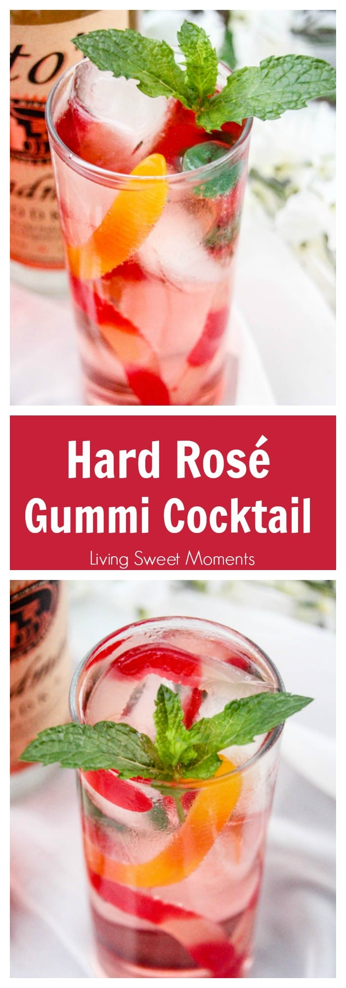 Hard Rosé Gummi Cocktail - this delicious adult drink will make you feel like a kid by using actual gummy worms as an ingredient. Perfect cocktail for all!