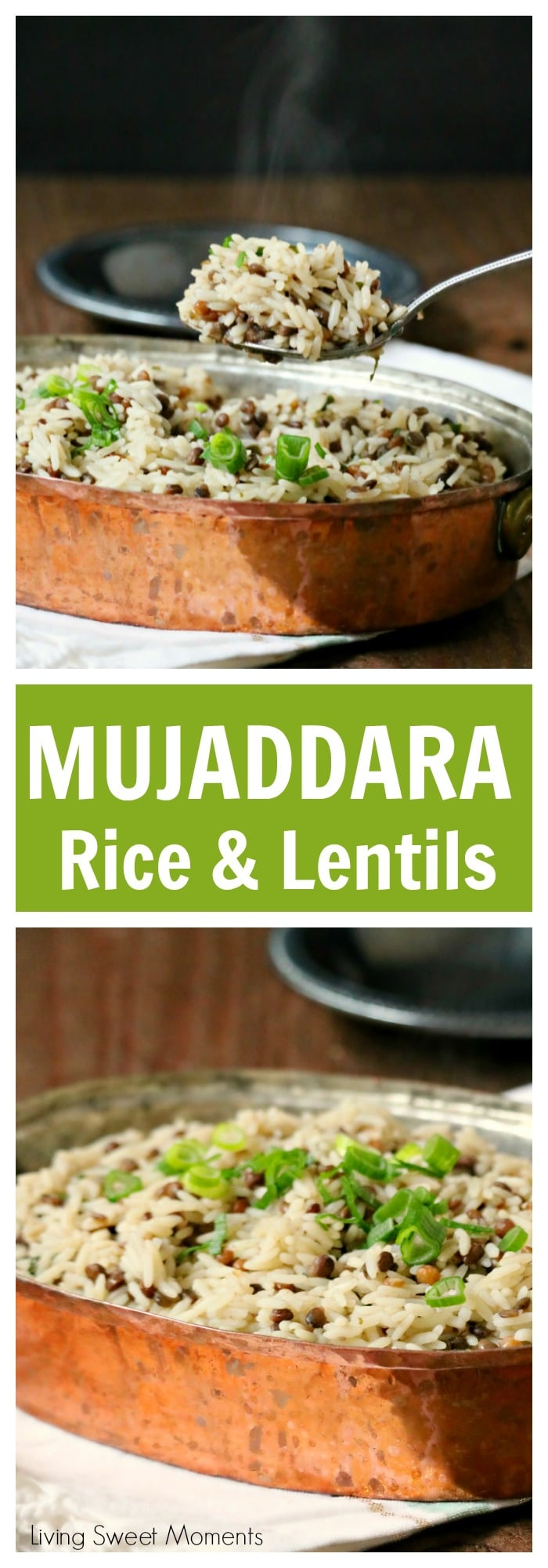 This delicious Mujaddara recipe is an entree made with rice, lentils and rich spices for an easy middle eastern dish that will wow your family for dinner.