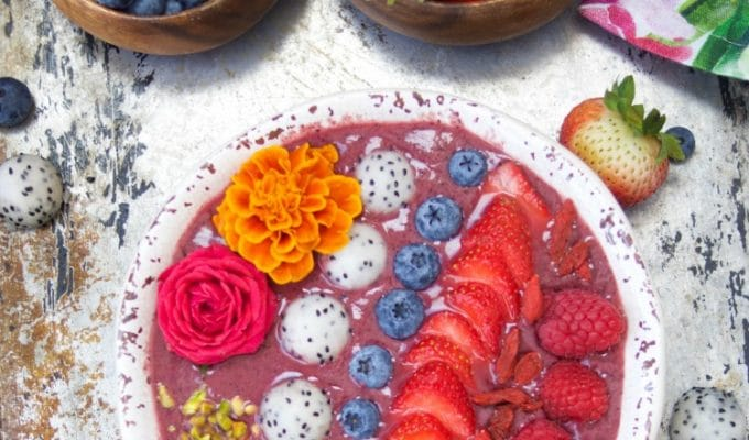 Acai Bowl With Berries And Dragonfruit