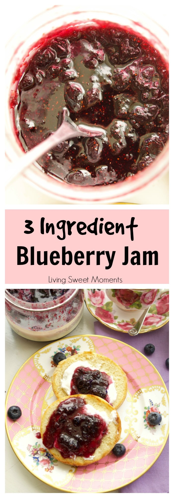 This delicious Blueberry Jam Recipe requires only 3 ingredients and is super easy to make and can. Use it as a spread or as a filling for pies or cookies.